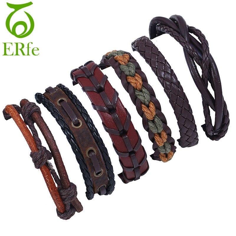 ER 2018 Vintage Retro Leather Bracelet Men Braclet Woven Friendship Bracelets Women Cotton Braided Hand Accessories LB095