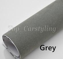 1.35×15 m/Roll Cinza cobrindo Adesivos de Vinil De Veludo camurça Envoltório Com Air Release para tejadilho Do Carro & folha de revestimento de interiores PROTWRAPS