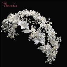 Romantik gümüş renk taklidi kristal gelin kafa bandı çiçek yaprak kafa Tiaras düğün saç takı aksesuarları RE3266