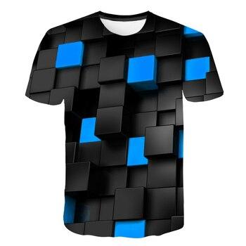 Top cool check 3D hip hop T-shirt brand 2019 men's T-shirt  BZPOVB