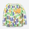 Nueva Caída de Los Bebés T shirt Marca de Manga Larga Ocasional de Los Niños blusas Impreso Lápiz Niños Camisetas Niños Ropa de Algodón Suave 1-6 Años