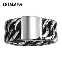GOMAYA Mens Rings Vintage Jewellery Classic Retro Design Braided Rope Shaped Biker Cool Ring for Men 316L Stainless Steel