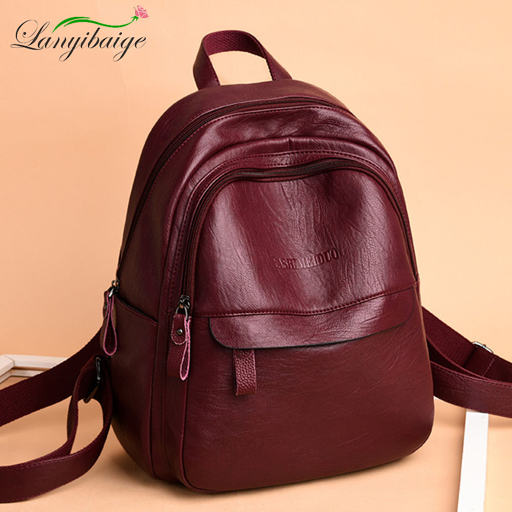 2019 Female Leather Backpacks High Quality Ladies Bagpack Luxury Designer Large Capacity Casual Daypack Girl Mochilas Sac A Dos