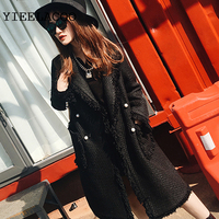 Black/white Woolen jacket 2019 women's jacket tweed two color pearl buckle fringed side small fragrance in the long coat
