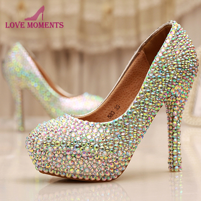 Cinderella Crystal Shoes Nightclub High Heel Platform Shoes Bridal Wedding Shoes AB Crystal Glitter Rhinestone Party Prom Shoes cinderella high heels crystal wedding shoes 14cm thin heel rhinestone bridal shoes round toe formal occasion prom shoes