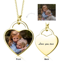 925 Sterling Silver Custom Necklaces With Chain Personalized Photo&Text Pendant Collares Color Adjustable Heart Necklace