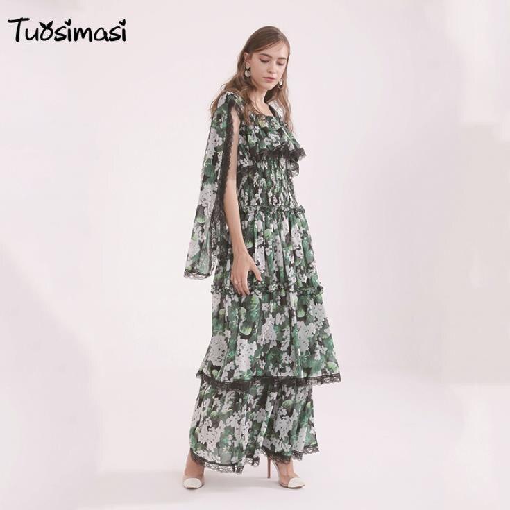 2018 Весна осень кружева с цветочным принтом U шеи Для женщин длинное ретро Платье (B021)