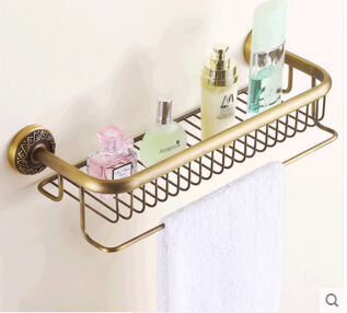 Top high quality total brass material antique finished bathroom shelves with towel bar bathroom soap holder bathroom accessories european style brass antique bronze solid brass bathroom soap holder soap basket bathroom accessories soap dish bathroom shelf