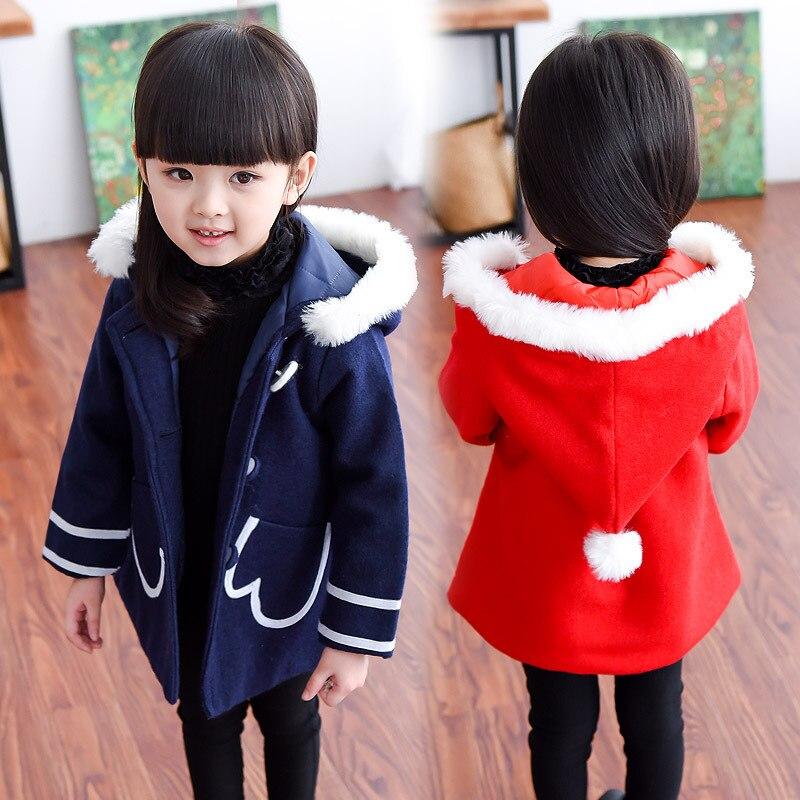 2016 Baby Girls wool winter coats hooded outerwear kids children outerwear clothes pink jackets