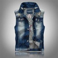 2015 New Casual Summer Spring Sleeveless Jean Jacket Slim Print Waistcoat Men 11 3873