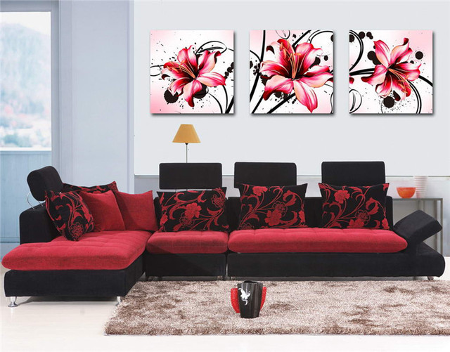 Beautiful Lily Flower Oil Painting Red Art Wall Decor 3 Piece Wall ...