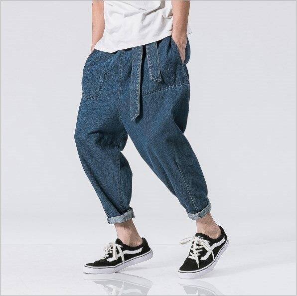 Men Black Blue Loose Baggy Jeans Mens Denim Pants Hip Hop Harem Jeans Elastic Waist With Belt Male Low Rise Trouser 4XL 5XL