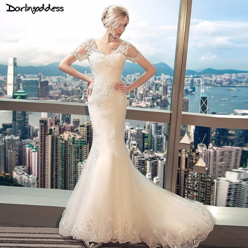 Hot Sale Vestido De Noiva Sexy Lace Mermaid Wedding Dress V Neck