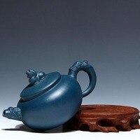 200 미리리터 창조적 마스터 수제 중국어 건강 보라색 점토 쿵푸 차 세트 사자 동상 커버 청나라 진흙 차 냄비 사무실 주전자 선물