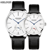 Agelocer Brand Watches Minimalist Type Swiss Original Famous Couple Watches Mechanical Movement Date Day Waterproof Women Men
