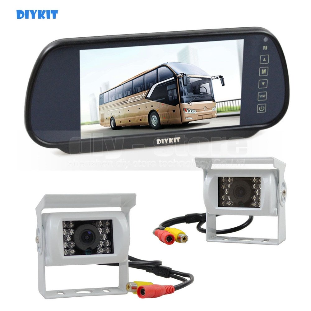 DIYKIT 7inch Mirror Monitor Car Monitor Waterproof IR Night Vision CCD Rear View Car Camera White for Truck Caravan Bus Van 1V2 diykit ir night vision ccd rear view car camera white 7 inch hd tft lcd car monitor reverse rear view monitor screen