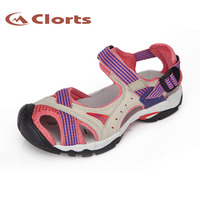 Clorts 2015 New PU Women Sandals Flat Shoes Outdoor Platform Shoes Velcro Women Platform Beach Shoes