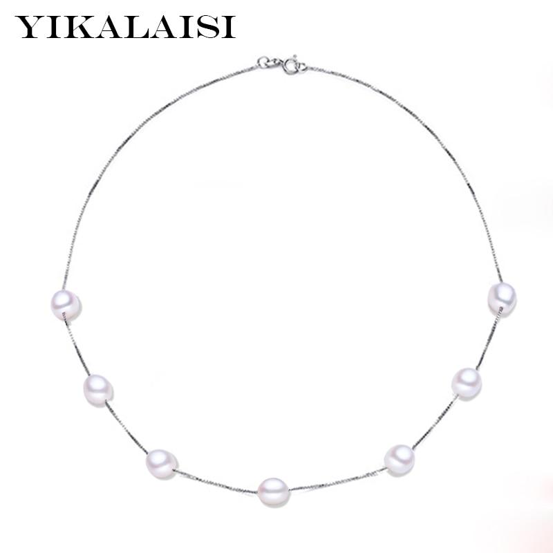 YIKALAISI 925 ezüst természetes édesvízi gyöngy fülbevaló nyaklánc divat ékszerek nőknek 8-9mm gyöngy 4 színű