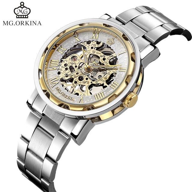 c6ef202b95a Mecanizada ORKINA Famosa Marca de Topo Relógios Esqueleto Tom de Ouro Dos  Homens do Projeto Relógios