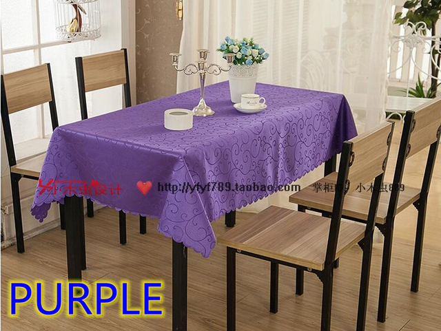 Exceptional Purple Colour Jacquard Rectangle Square Wedding Table Linens,damask Table  Cover For Wedding,hotel