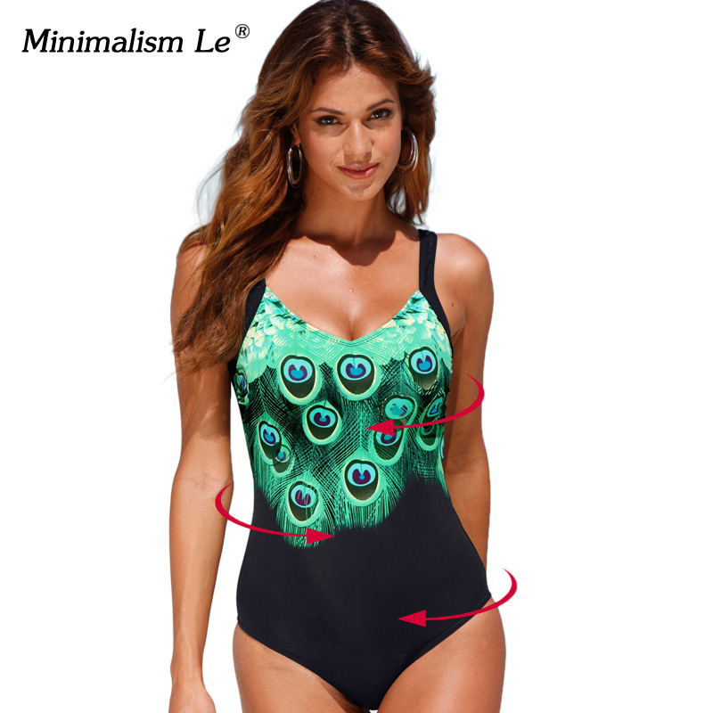 Minimalism Le 2017 Sexy One Piece Swimsuit Print Feather Tankini Female Sports Bathing Suits Plus Size Women Swimwear 5XL BK047 one piece swimsuit cheap sexy bathing suits may beach girls plus size swimwear 2017 new korean shiny lace halter badpakken