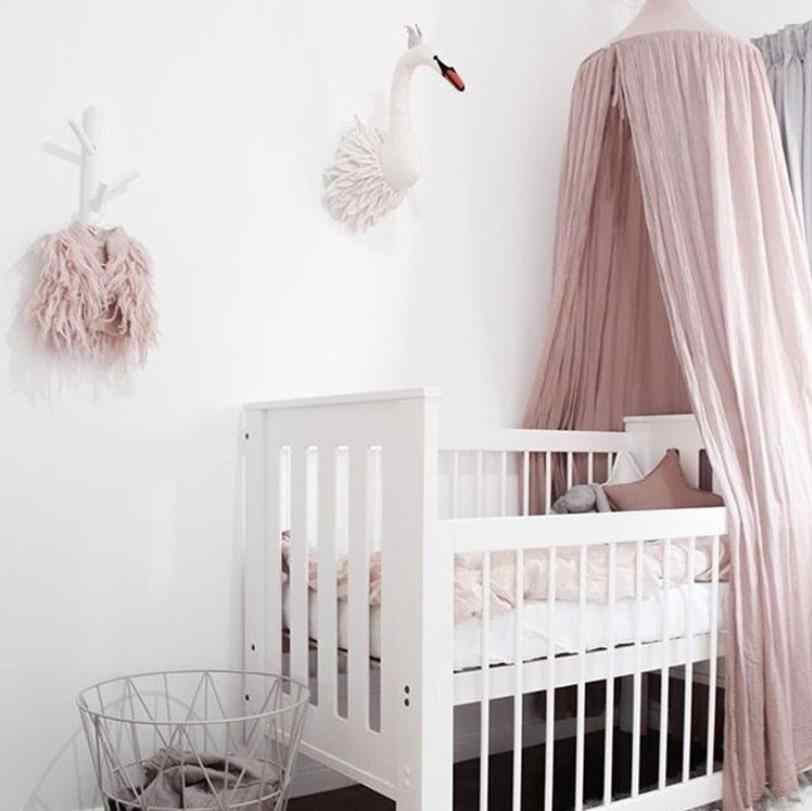 White Grey Pink Beige Boys Girls Kids Princess Canopy Bed Valance Kids Room Decoration Baby Bed Round Mosquito Net Tent Curtains