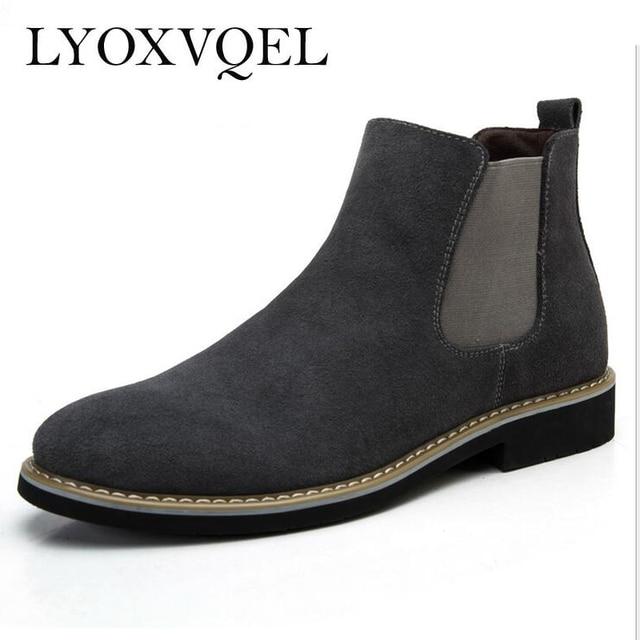 430cf3685de634 The Chelsea Boot Men Suede Hombre Boots Low Heel Nubuck Leather Ankle Boots  Vintage Sewing Thread Britain Botas M220