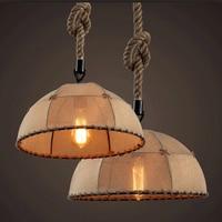 REVEN vintage pendant lights iron lamps Rope weaving lampshade for kitchen lighting dining room loft led pendant lamp E27