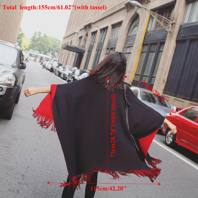Fashion Women Blanket Oversized <font><b>Scarf</b></font> Wrap Long Knit Shawl Poncho Tassel Fringe