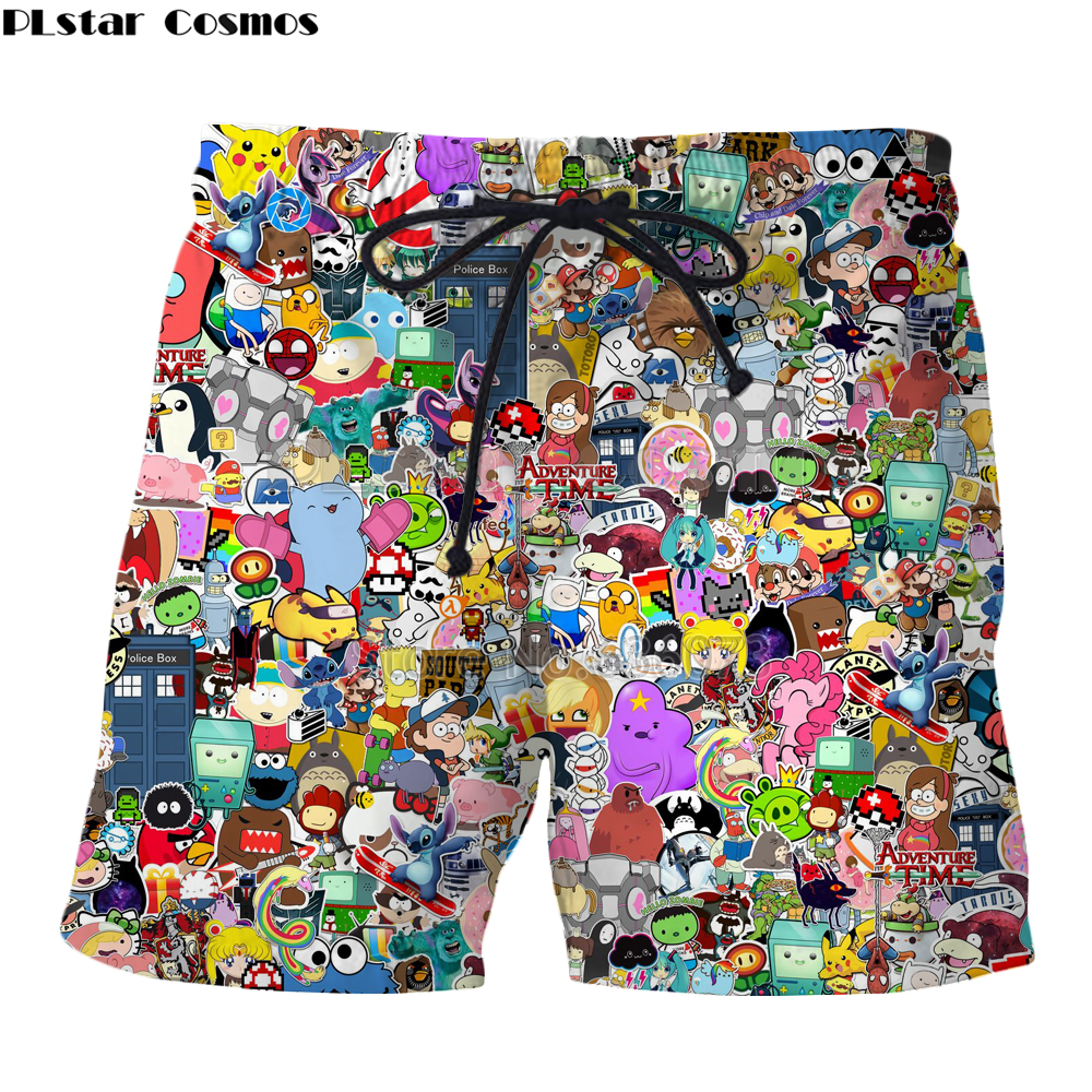 PLstar Cosmos 2018 Summer New Style Fashion Mens Shorts Cartoon Funny Cartoon All Roles Print 3d Men/Women Casual Cool Shorts