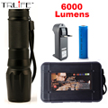 1 Set X800 LED Flashlight 6000lumen cree xm-l2 zoomable led torch aluminum flashlights For Camping +18650 battery +Charger G700