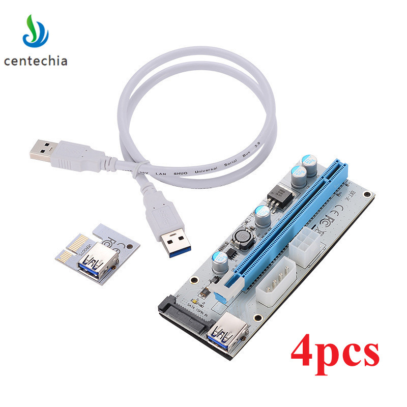 New 4PCS White PCI-E Riser 008 Express 1X 4x 8x 16x Extender PCI E USB Riser 008S Adapter Card SATA 15pin for BTC Mining Miner e cap aluminum 16v 22 2200uf electrolytic capacitors pack for diy project white 9 x 10 pcs