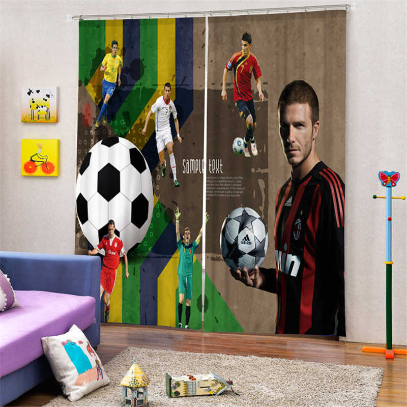 Customized Footballer Luxury 3D Blackout Window Curtain Drapes For Living room Bed room Hotel Wall Tapestry Cortinas