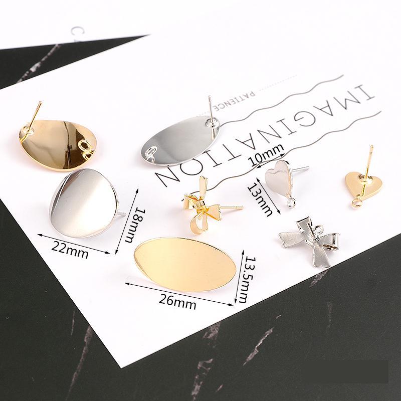Heart & Ellipse Stud Earrings For Women Diy Accessories New Fashion Jewelry Gold Silver Stainless Steel Nickel Free Earrings