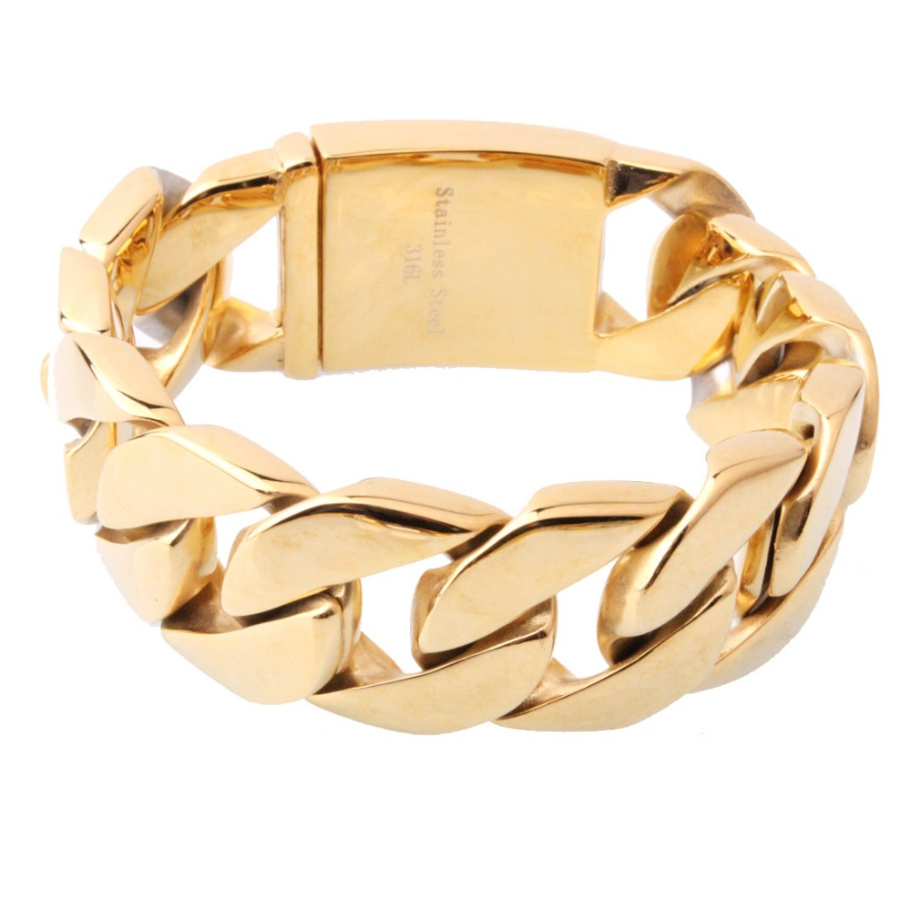 Grand bracelet en acier inoxydable 26mm avec chaîne cubaine Miami lourde 9''