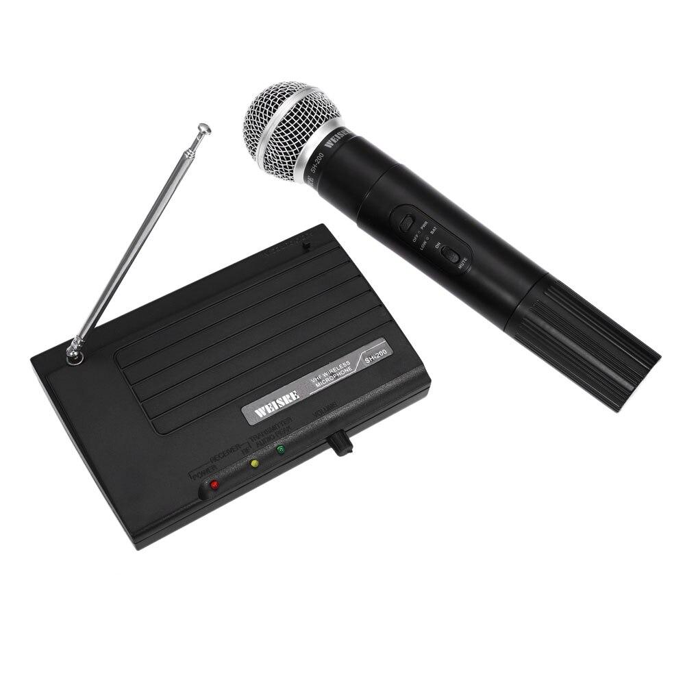 WEISRE SH - 200 Professional Microphone 2 Channels Wireless Handheld VHF Transmitter Microphone Set For Studio Karaoke Radio