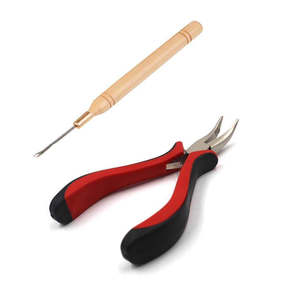 Новинка, набор инструментов для наращивания волос, плоскогубцы + тянущий крюк + 100 шт., кольца с бусинами для укладки волос