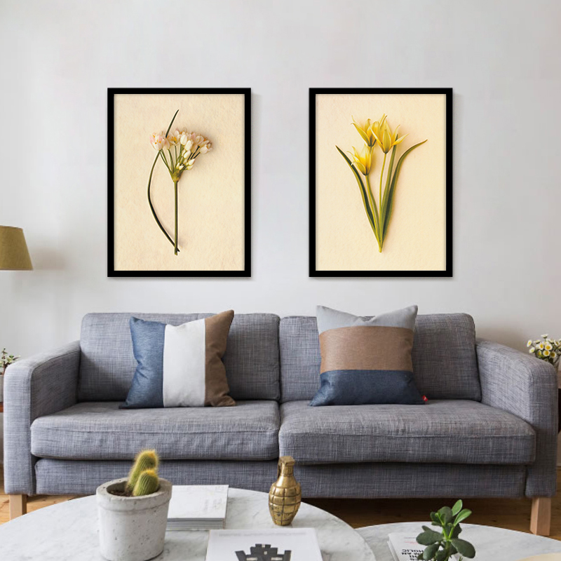 Yellow Little Floral Picture Printed Canvas Attracted Lily Flower Art Oil Painting Splendid Bunch Flower Wall Photo No Frame image