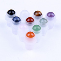 10pcs Natural Gemstone Roller Balls for Essential Oil Bottles 10ml Healing Crystal Stones Round Sphere Shaped 10mm with Caps