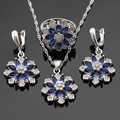 Snowflake Blue Created Sapphire Silver Color Jewelry Sets Necklace Pendant Drop Earrings Rings For Women Christmas Free Gift Box