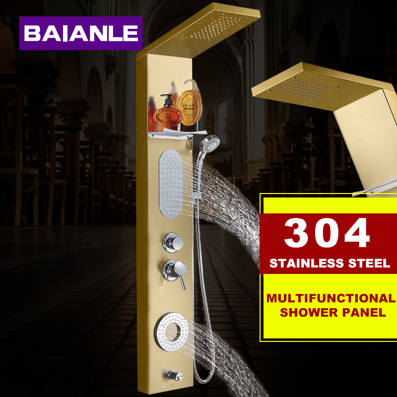 New Waterfall Gold Fashion Luxury Shower Column Shower Panel Hand Shower Massage Jets Stainless steel Plate Shower Faucet new york jets stainless dog bowl