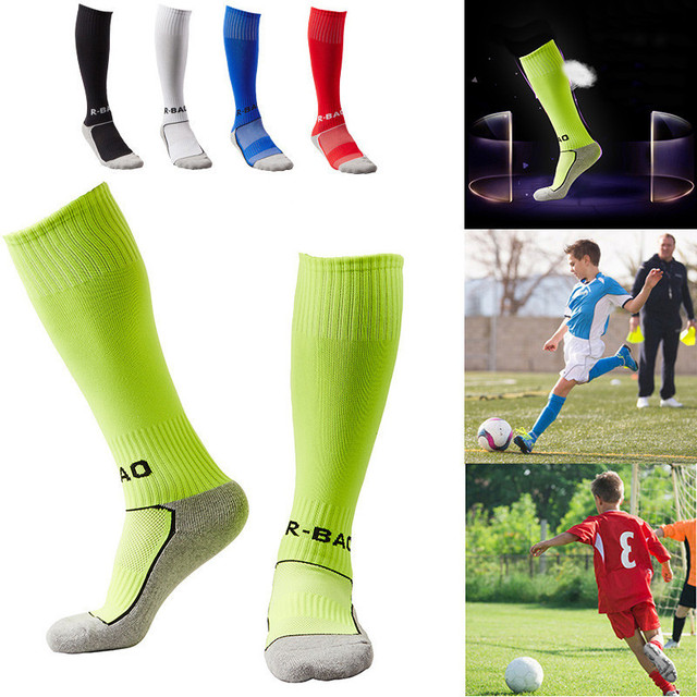 d8f9975fd4d Towel Bottom Children Football Socks Boys Soccer Sock Kid s Above Knee  Plain Socks Long Soccer Men Over Knee High Sock Baseball