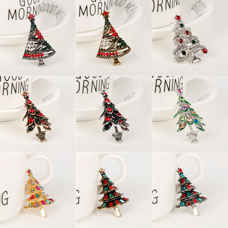 dongsheng Christmas Tree Brooches for Women Heart Colorful Crystal Brooch Pins for Shirt/Dress Jewelry Festival Gifts -40