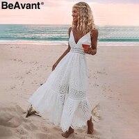 BeAvant вышитое хлопковое белое летнее платье женское сексуальное платье с v-образным вырезом на тонких бретельках длинное платье высокая поса...