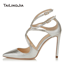 Silver Women High Heel Strappy Heels Shoes Pointed Toe Sexy Pumps Gold Stiletto Heels White Ladies Summer Shoes 2020 Size 43 bigtree new wedding shoes high heels gold silver women pumps 2018 special sequins stable thick heel pointed toe female size34 39