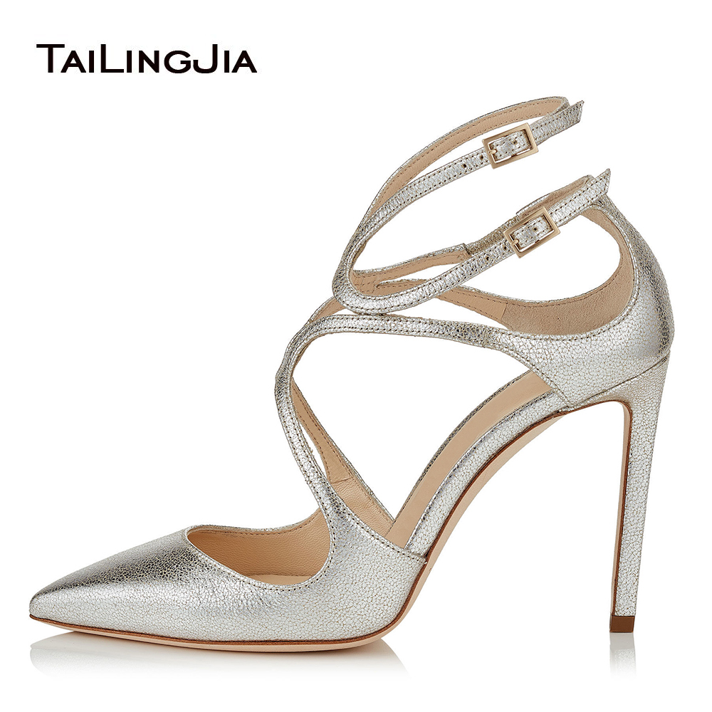 Sliver Women High Heel Strappy Heels Shoes Pointed Toe Sexy Pumps Gold Stiletto Heels White Ladies Summer Shoes 2018 Size 43 aiweiyi 2018 summer women shoes pointed toe stiletto high heel pumps dress shoes high heels gold transparent pvc shoes woman