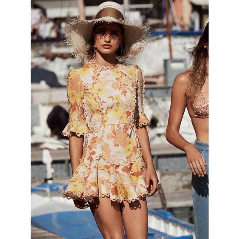 Primrose Flutter robe haute qualité coton et lin brodé dentelle ébouriffée balancelle bohème plage mini robe femme