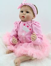 22″ Handmade Lifelike Baby Girl Dolls Poseable Reborn Fake Babies in Princess Tutus Look Real Educational Toy