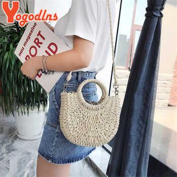 Yogodlns Handmade Half-Round Rattan Woven Straw Bag Summer Women Messenger Crossbody Bags Girls Small Beach Handbag 2020