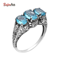 Szjinao Fashion Jewelry Aquamarine Ring 925 Sterling Silver Rings for Women Silver Elephant Ring Free Box Wholesale